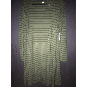 Green and black striped old navy dress size XL